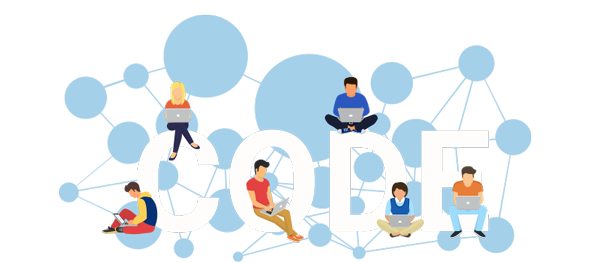 Networked graphics, software developers sit on the word CODE