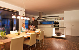 Smart home kitchen with family